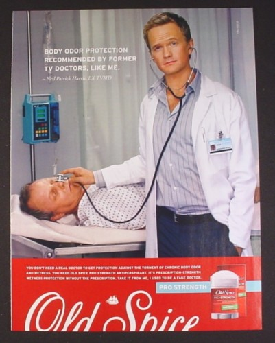 Magazine Ad for Old Spice Deodorant, Neil Patrick Harris, Dr Doogie Howser, ...