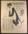 Magazine Ad for Felix Cat Food, Cartoon Cat with Garbage Can, British, 1971, 10 by 12 1/2