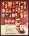 Magazine Ad for Coffee-Mate, 26 Different Coffee Tins & Bottles, British, 1970, 10 by 12 1/2