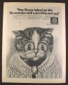 Magazine Ad for Choosy Cat food, Senior age Cat with Cameo Drawing, British, 1970, 10 by 12 1/2