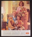 Magazine Ad for Steiff Teddy Bears, Original 1903 Bear, 1953 Zotty, Petsy Bear, 1987, 9 by 11