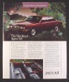 Magazine Ad for Jaguar XJ6 Car, Front & Side View, Maroon, 1987, 9 by 11