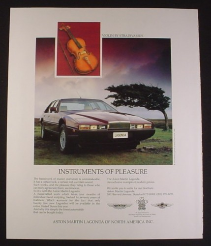 Magazine Ad for Aston Martin Lagonda Car, Stradivarius Violin, 1987, 9 by 11