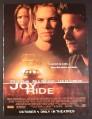 Magazine Ad for Joy Ride Movie, Paul Walker, Leelee Sobieski, Steve Zahn, 2002, 8 3/4 by 11 3/4