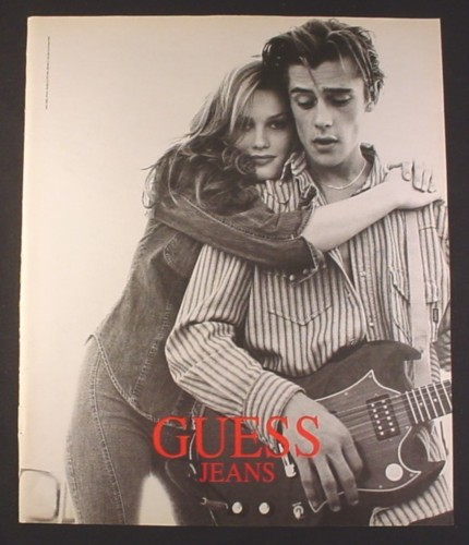 Magazine Ad for Guess Jeans, Guy with Guitar & Girl, 1994 ... Guess Jeans Ad