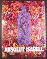 Magazine Ad for Absolut Isabel, Absolut Vodka, Purple Flower Bottle, 2002, 10 by 13 1/8