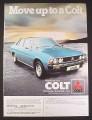 Magazine Ad for Mitsubishi Colt Sigma 2000 Car, British, 1978, 9 by 12 1/2