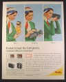 Magazine Ad for Kodak Instamatic Movie Camera, Woman with Scarf, 1965, 10 1/2 by 13 1/4