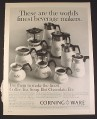 Magazine Ad for Corning Wear Beverage Makers, 10 Models, 1966, 10 1/2 by 13 1/4