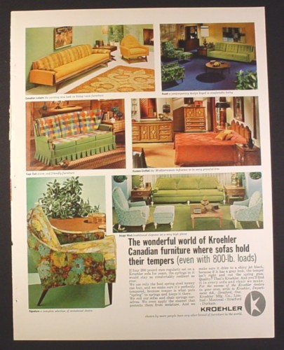Furniture Store Ads: Magazine Ad For Kroehler Furniture, 6 Designs, 1966, 10 1