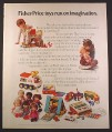 Magazine Ad for Fisher Price Toys, Castle A-Frame Circus Dolls Desk Record Player, 1974