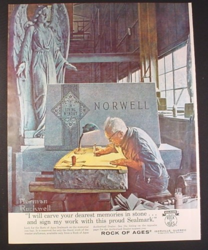 Magazine Ad for Rock Of Ages Tombstones & Memorials, Norman Rockwell Painting, 1963