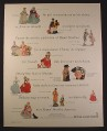 Magazine Ad for Royal Doulton Figurines, 17 Figures with Names & Prices 1963 10 1/2 by 13 1/4