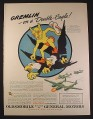 Magazine Ad for WWII Era Oldsmobile, Gremlin On A Double Eagle 339th Fighter Squadron 1944