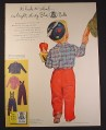 Magazine Ad for Blue Bell Children's Clothing, Boy with Propeller Beanie Hat, 1954