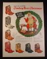 Magazine Ad for Acme Cowboy Boots, 7 Different Styles Colors, Santa Claus Cobbler, 1954