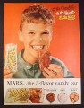 Magazine Ad for Mars Toasted Almond Candy Chocolate Bar, Girl With Big Smile, 1954