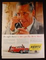 Magazine Ad for Hertz Rent A Car, Powerglide Chevrolet Bel Aire Car, 1954, 10 1/2 by 13 7/8