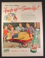 Magazine Ad for 7UP Seven Up Soft Drink, Barrel Go-Kart Airplane, Happy Family Landings, 1949