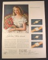 Magazine Ad for Elgin Watches, 4 Models, Lady, Lord, Deluxe, 1946, 10 1/2 by 13 7/8