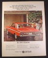Magazine Ad for Plymouth Fury 2-Door Hardtop Red Car, Rear & Side View, 1964, 10 1/2 by 13 3/4