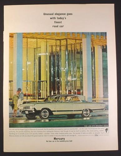 magazine ad for mercury park lane car with breezeway design  finest road car  1964