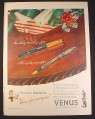 Magazine Ad for Venus Hooded Pen, Venus President Fountain Pen, 1946, 10 1/2 by 14