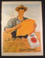 Magazine Ad for Lucky Strike Cigarettes, Farmer with Giant Tobacco Leaf, 1946, 10 1/2 by 14
