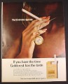 Magazine Ad for Goldcrest Cigarettes, The 12 Minute Cigarette, 1968, 10 1/4 by 13 1/4