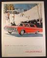 Magazine Ad for Oldsmobile Jetstar 80 Holiday Sedan Car, Ski Slopes, 1964, 10 1/2 by 13 3/8