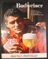 Magazine Ad for Budweiser Beer, Pouring a Huge Glass, Playing Cards, 1964, 10 1/4 by 13 1/4