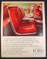 Magazine Ad for Red Interior of Ford 500/XL 2-Door Hardtop Car, 1964, 10 1/4 by 13 1/4