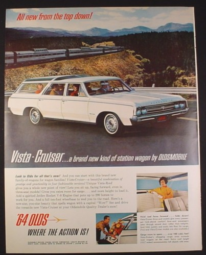 Magazine Ad for 64 Olds Vista Cruiser Station Wagon, White, 1964, 10 1/4 by 13 1/4