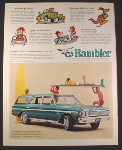 Magazine Ad for 64 Rambler Classic 770 Cross Country Station Wagon, Girl on Surfboard, 1964