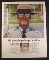 Magazine Ad for Havoline Oil Can, State Police Officer, Mirror Glasses, 1972, 10 3/8 by 13 1/4