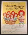 Magazine Ad for Greenland Studios 7 Lovable Red Haired Rag Dolls, 1972, 10 3/8 by 13 1/4