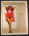 Magazine Ad for Campbell Soups, Beach Towel & Sweat Shirt Offer, Woman on Beach, 1971