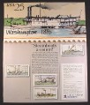 Magazine Ad for USPS Steamboat Stamps, Philatelic Collecting, 1989, 10 by 12
