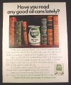 Magazine Ad for Quaker State Oil Can Between Books, 1972, 10 1/2 by 13 1/4