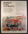 Magazine Ad for Ford Bronco 4-Wheeler Truck, Red & White, 1972, 10 1/4 by 13 1/4