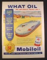 Magazine Ad for Mobiloil Oil Can, John Cobb's Bonneville Land Speed Record, 1953