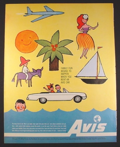 Magazine Ad for Avis Car Rental, Childlike Drawings, Family Fun, 1962, 10 3/8 by 13 1/4