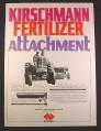 Magazine Ad for Kirschmann Fertilizer Attachment, Farm Implement, 1968, 10 1/4 by 13 7/8
