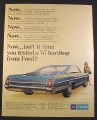 Magazine Ad for Ford XL 2 Door Hardtop Blue Car, Rear & Side View, 1967, 10 3/8 by 13 1/4