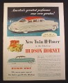 Magazine Ad for Hudson Hornet Sedan Car, Hudson-Aire Hardtop, 1952, 9 3/4 by 12 1/2