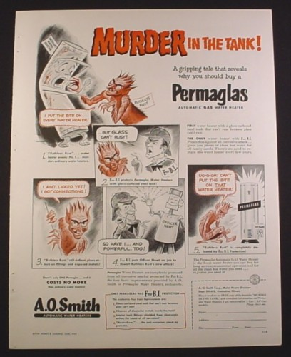 Magazine Ad for A.O. Smith Water Heaters, Cartoon Ruthless Rust, 1952, 9 3/4 by 12 1/2