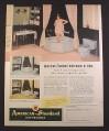 Magazine Ad for American Standard Bathrooms, Corner Tub Shower, Platinum Gray, 1954