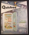 Magazine Ad for Quicfrez Upright & Chest Freezers, 1954, 9 3/4 by 12 1/2