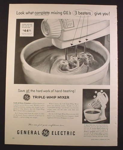 Magazine Ad For General Electric Ge Triple Whip Mixer