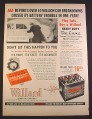 Magazine Ad for Willard Heavy Duty De Luxe Car Battery, Pushing a Car, 1952, 10 3/8 by 14